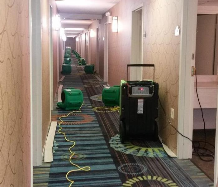Hotel hallway lined with SERVPRO equipment