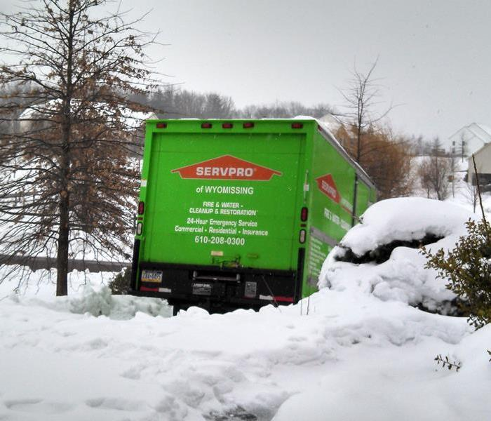 SERVPRO box truck in the snow
