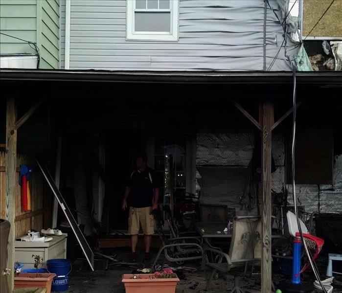 A home's shed impacted by fire damage